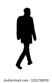 Side view adult man with backpack walking isolated silhouette black graphic over white background