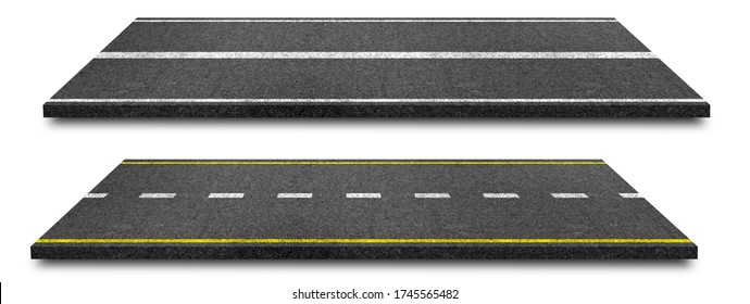 Side view of Asphalt straight street road way of lanes with lines isolated on white background. (Clipping path), 3d Illustration