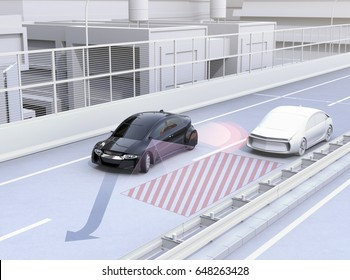Side view assist system avoid car accident when changing lane. Concept for driver assistance systems. 3D rendering image.
