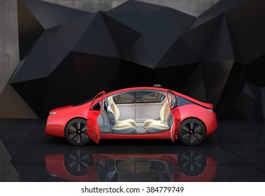 Side view of autonomous car. Through opened doors can see driving seat rotated in 180 degree, easy to take communication face to face.