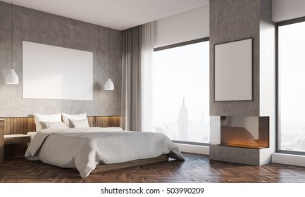 Side view of bedroom in big city. Master bed with horizontal poster, computer on desk. Bookshelves. 3d rendering. Mockup.