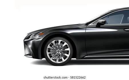 Side view of black car - 3D render on white