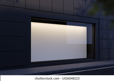 Side view of blank horizontal mock up poster hanging in shop window at night. Concept of advertising and marketing. 3d rendering