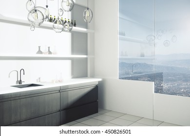 Side view of bright kitchen interior with sink, shelves with items and window with city view. 3D Rendering