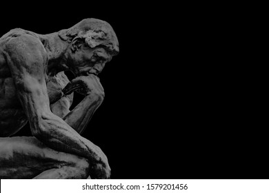 Side view bronze thinker sculpture background template in dark grey and black background color