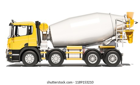 Side View of Cement Mixer 3d rendering