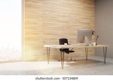 Side view of CEO office with wooden walls and large panoramic windows. Workstation is standing on the table. Concept of hard work. 3d rendering. Mock up. Toned image