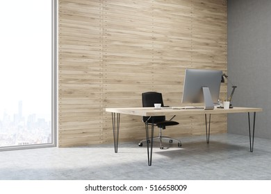 Side view of CEO office with wooden walls and large panoramic windows. Workstation is standing on the table. Concept of hard work. 3d rendering. Mock up.