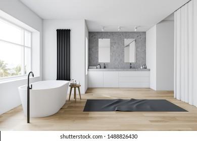 Seitenansicht des komfortablen Badezimmers mit weißen und steinernen Wänden, Holzboden, weißer Badewanne und Doppelwaschbecken auf weißem Dach mit vertikalen Spiegeln. 3D-Rendering