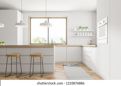 Side view of comfortable kitchen with white walls, wooden floor, small window, white countertops with built in appliances, bar with stools and an oven. 3d rendering