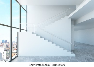 Side view of concrete stairs in interior with panoramic window and city view. Success concept. 3D Rendering