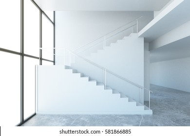 Side view of concrete stairs in interior with panoramic window. Success concept. 3D Rendering