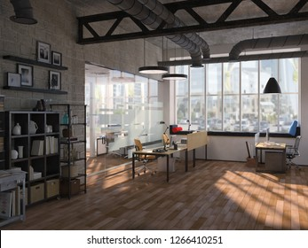 Side view of contemporary conference room with city view and daylight. 3D Rendering