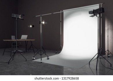 Side view of contemporary photo studio with professional lighting equipment and white background. Photgraphy concept. Mock up, 3D Rendering