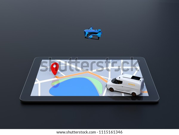 Side view of delivery drone and van on digital tablet computer. Black background. Last one mile digital solution concept.