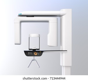 Side view of dental X-ray machine isolated on gradient background. 3D rendering image.