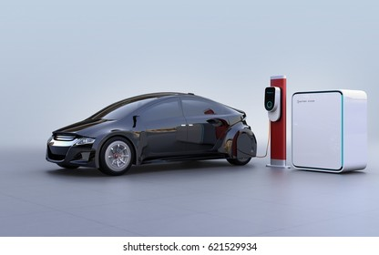Side view of electric vehicle, charging station and battery unit. 3D rendering image.