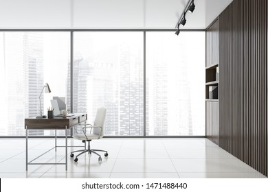 Side view of empty CEO office with wooden walls, tiled floor, panoramic window, wooden computer desk and bookcases with folders. Concept of leadership. 3d rendering