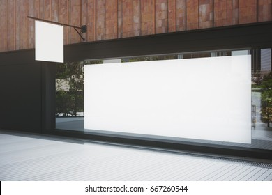 Side view of empty storefront with billboard and stopper. Advertisement concept. Mock up, 3D Rendering