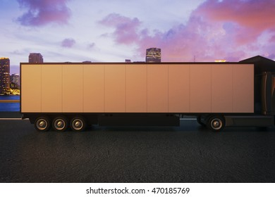 Side view of empty truck trailer on night city background. Mock up, 3D Rendering