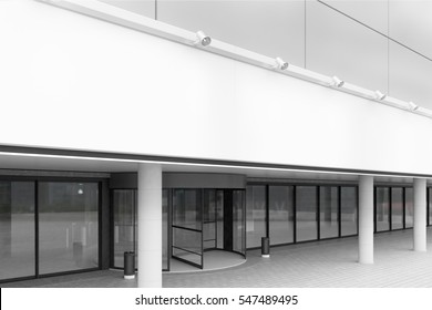Side view of an entrance to the office building with white walls and glass doors. Concept of work in a large company. 3d rendering. Mock up.