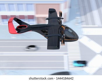 Side view of E-VTOL passenger aircraft flying over the street. Solar panel mounted on the wings. Urban Passenger Mobility concept. 3D rendering image.