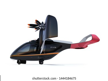 Side view of E-VTOL passenger aircraft isolated on white background. Urban Passenger Mobility concept. 3D rendering image.