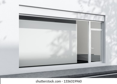 Side view of exterior of white office or shop with glass door and big horizontal mock up poster hanging in the window. Concept of advertising. 3d rendering