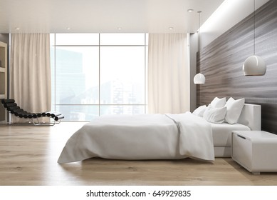 Side view of a gray wall bedroom interior with a double bed, a bedside table, an armchair and a large window. 3d rendering