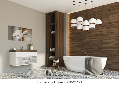Side view of a gray and wooden bathroom interior with a white round tub, a sink and a closet with towels. 3d rendering mock up