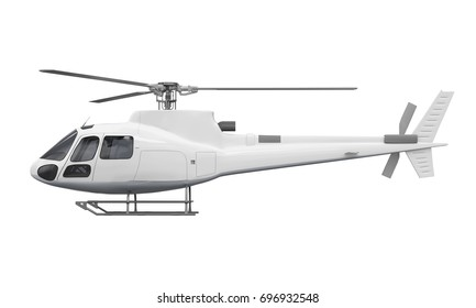 Side View of Helicopter Isolated. 3D rendering