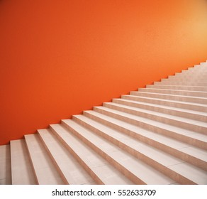 Side view of interior with bright orange wall and stairs. Mock up, 3D Rendering