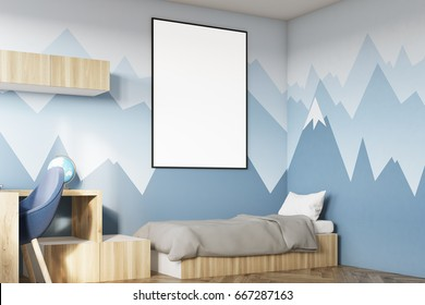 Side View Of A Kids Room Interior With Poster Hanging Above Bed Bookshelves