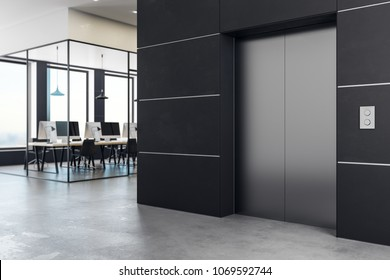 Side view of lift in modern office interior with daylight. Success concept. 3D Rendering