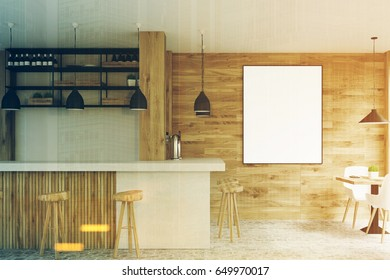 Side view of a light wooden cafe interior with square tables, white chairs, stools standing near a white bar and a framed vertical poster on a wall. 3d rendering, mock up, toned image