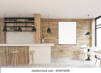 Side view of a light wooden cafe interior with square tables, white chairs, stools standing near a white bar and a framed vertical poster on a wall. 3d rendering, mock up