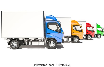 Side View of Lined Up Box Trucks with Cabins in Different Colors 3d rendering