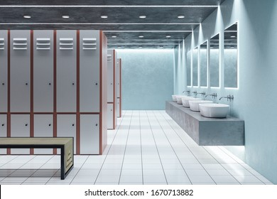 Side view of locker room interior. School and sports concept. 3D Rendering