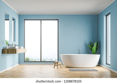 Side view of loft bathroom interior with blue walls, wooden floor, white bathtub and double sink with two vertical mirrors. 3d rendering