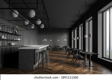 Side view of loft style pub with gray walls, dark wooden floor, square tables and bar counter with stools. 3d rendering
