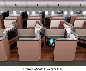 Side view of luxury business class suites in airplane cabin. 3D rendering image.