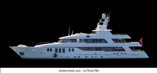 Side view of luxury yacht on black background