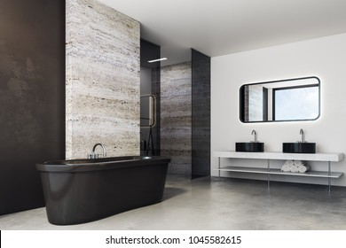 Side view of marble bathroom interior with bath tub, decorative items and copy space on wall. Mock up, 3D Rendering
