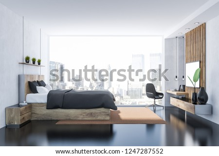 Royalty Free Stock Illustration Of Side View Master Bedroom Interior