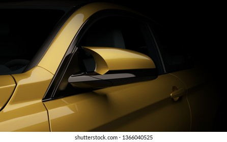 Side view mirror on a sports coupe. 3d render