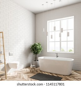 Side view of a modern bathroom interior with white walls, a wooden floor, a bathtub standing under the window, and shelves. 3d rendering mock up