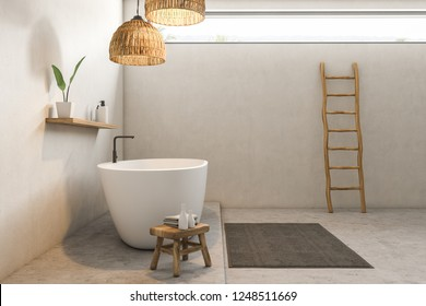 Side view of modern bathroom interior with white walls, concrete floor, white bathtub with shelf for shampoo above it and ladder near the wall. 3d rendering