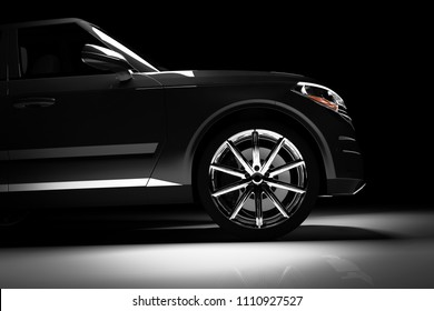 Side view of modern black SUV car in a spotlight on a black background. 3D render. Luxury cars.