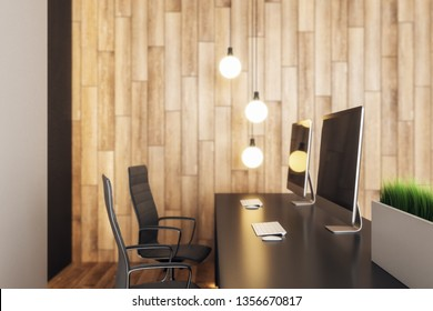 Side view of modern blurry wooden reception desk with computers, chairs and lamps. 3D Rendering