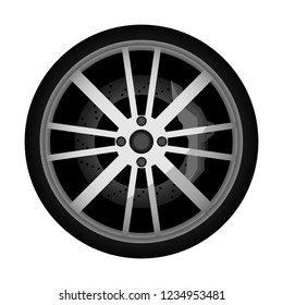 Side view modern car wheel icon. Consumables for car, auto service concept, wheel vehicle isolated on white background illustration.
